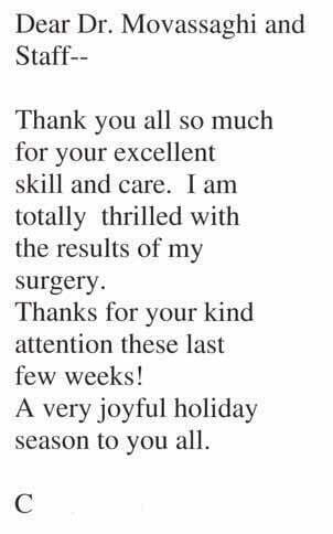 Testimonials thank you cards dr movassaghi thank you 12 12 spiritdancerdesigns Gallery